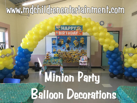 Balloon Decorations For Minion Themed Parties Arch With Columns We Provide