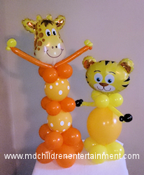 Fun Balloon Centerpieces - Giraffe and Tiger - Toronto, Newmarket, Vaughan