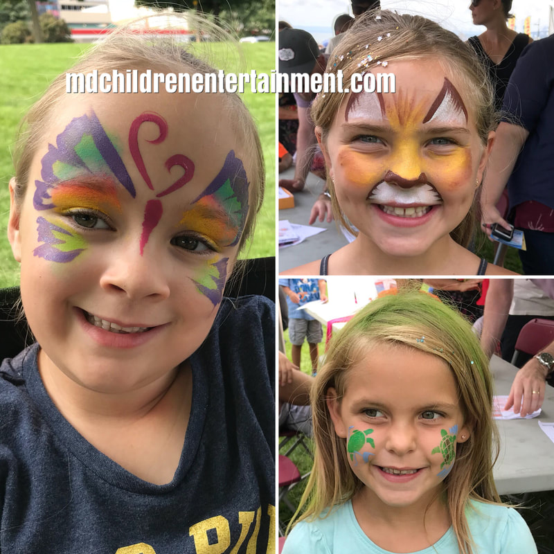 Butterfly, lion and turtles face painting by Tanya. Hire me for parties in Toronto and Newmarket!