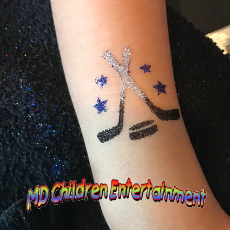 Hockey glitter tattoo. We offer glitter tattoo stations for corporate events in Toronto, Ontario!